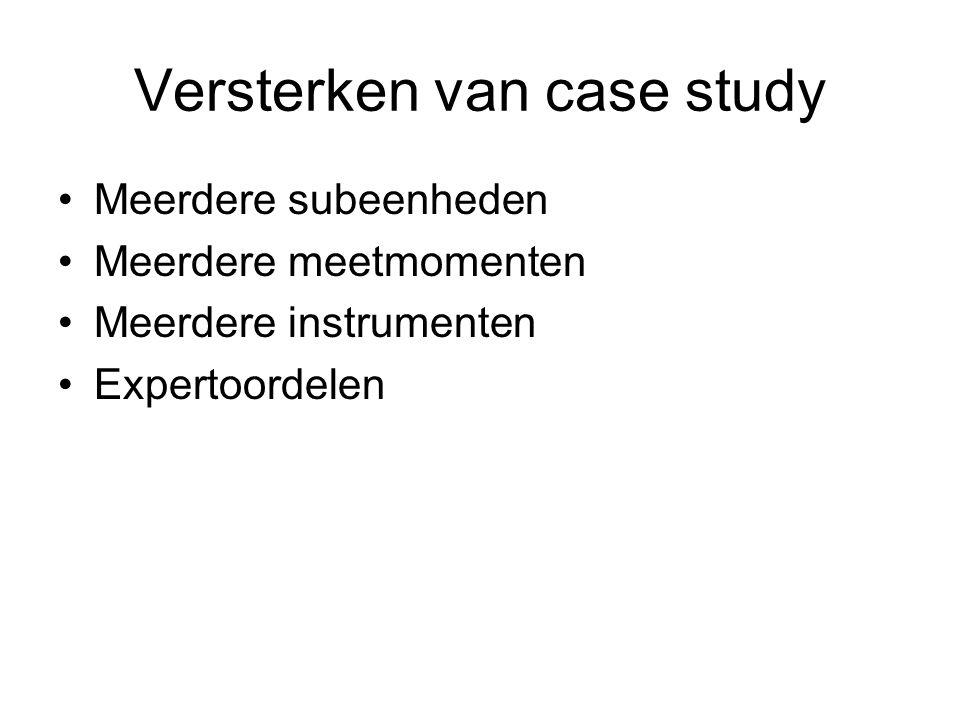 Versterken van case study Meerdere subeenheden Meerdere meetmomenten Meerdere instrumenten Expertoordelen