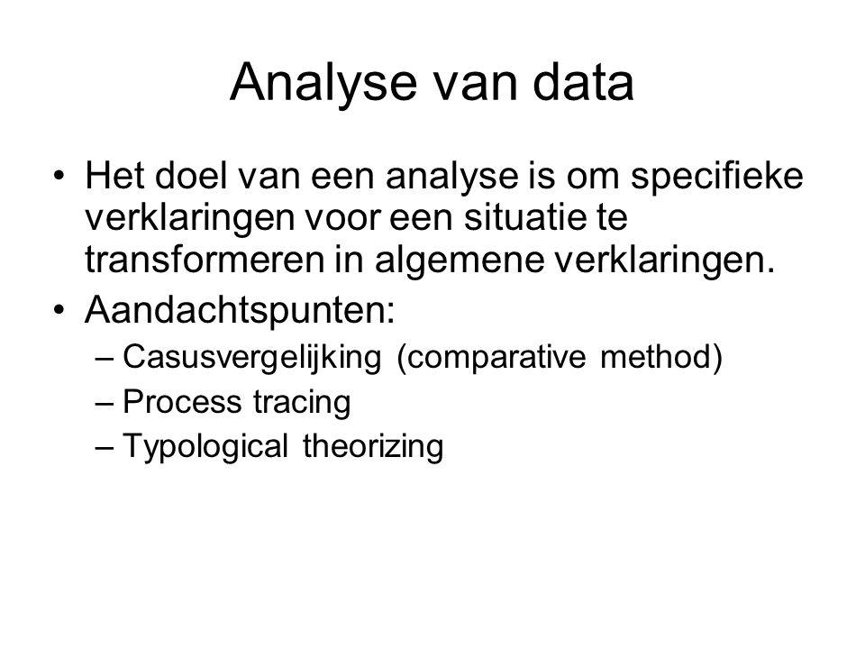 Analyse van data Het doel van een analyse is om specifieke verklaringen voor een situatie te transformeren in algemene verklaringen. Aandachtspunten: