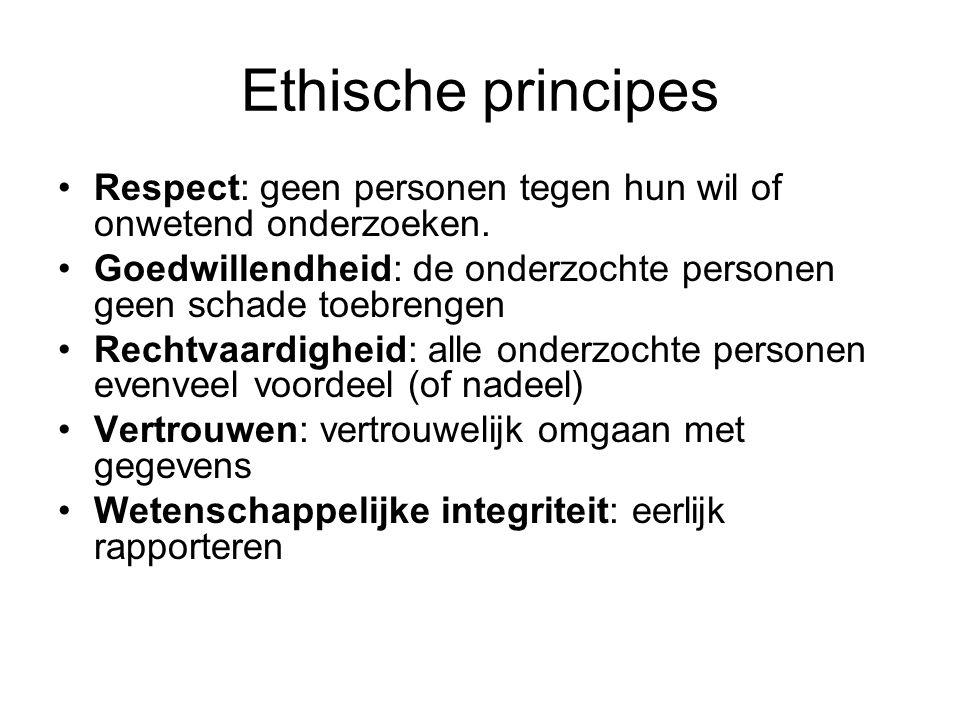 Ethische principes Respect: geen personen tegen hun wil of onwetend onderzoeken. Goedwillendheid: de onderzochte personen geen schade toebrengen Recht