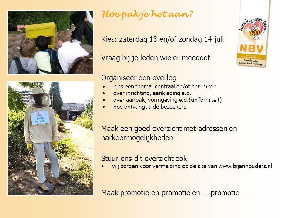 Maak een goed overzicht met adressen en parkeermogelijkheden Stuur ons dit overzicht ook wij zorgen voor vermelding op de site van www.bijenhouders.nl