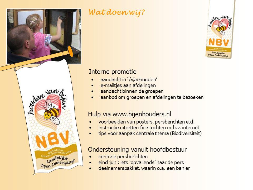 Ondersteuning vanuit hoofdbestuur Wat doen wij? Hulp via www.bijenhouders.nl voorbeelden van posters, persberichten e.d. instructie uitzetten fietstoc