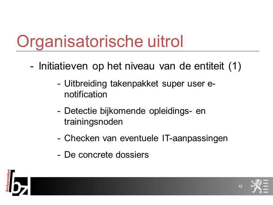 11 Organisatorische uitrol -Initiatieven voor de gehele VO (2) -Monitoring -Overleg met de federale cel e-procurement -Sensibilisering aanbestedende e