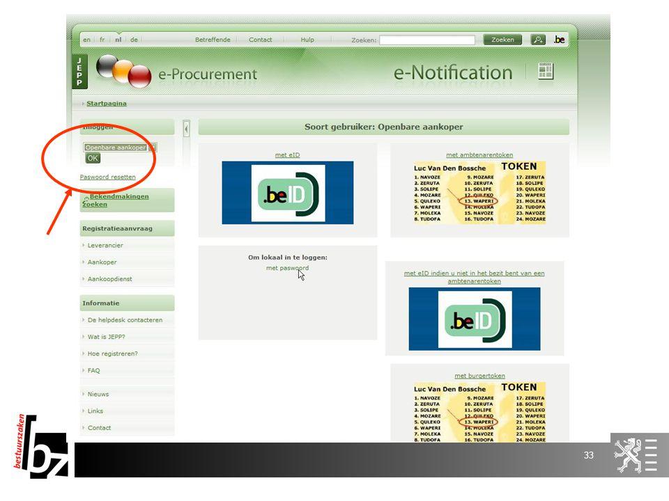 32 E-Tendering Registratie Aanbestedende overheid Leverancier s Aanbestedende overheid Pre-openingsfase Aanvinken e-tendering in e-notification