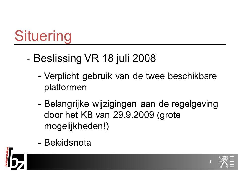 3 Situering -Wat is e-tendering -Elektronisch indienen van offerte/kandidatuur én elektronische verloop van een openingszitting -Tweede 'front-office'