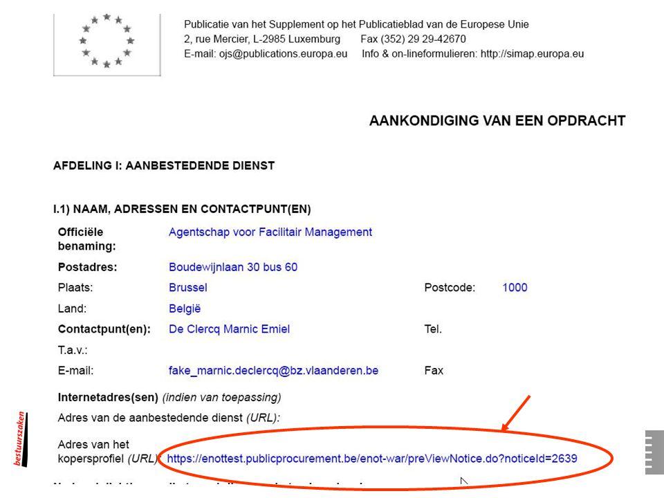 42 E-Tendering Registratie Aanbestedende overheid Leverancier s Aanbestedende overheid Pre-openingsfase Aanvinken e-tendering in e-notification Verant