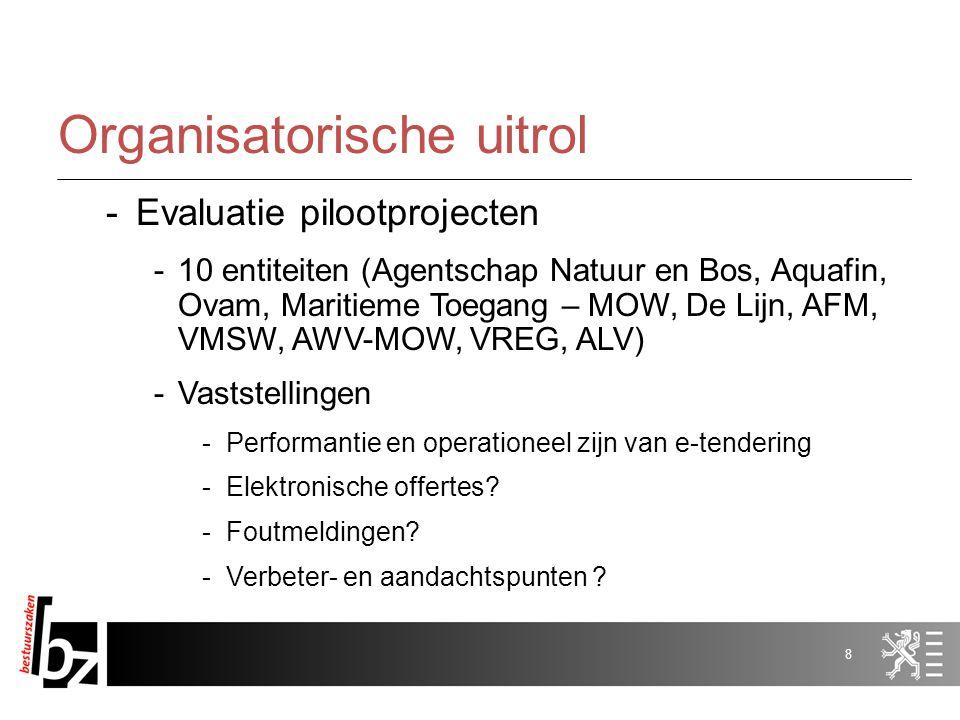 7 Situering -Pilootprojecten (in 2009) – zie bijlage -Na evaluatie, -Richtlijnen -Verdere uitrol (2010) -Begeleiding op: -Organisatorisch vlak -Juridi