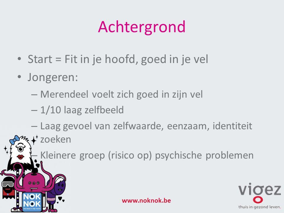 Doelgroep = jongeren van 12 – 16 jaar die zich goed voelen = jongeren van 12 – 16 jaar met een dipje Onze prioritaire doelgroep zijn niet de jongeren met problemen www.noknok.be