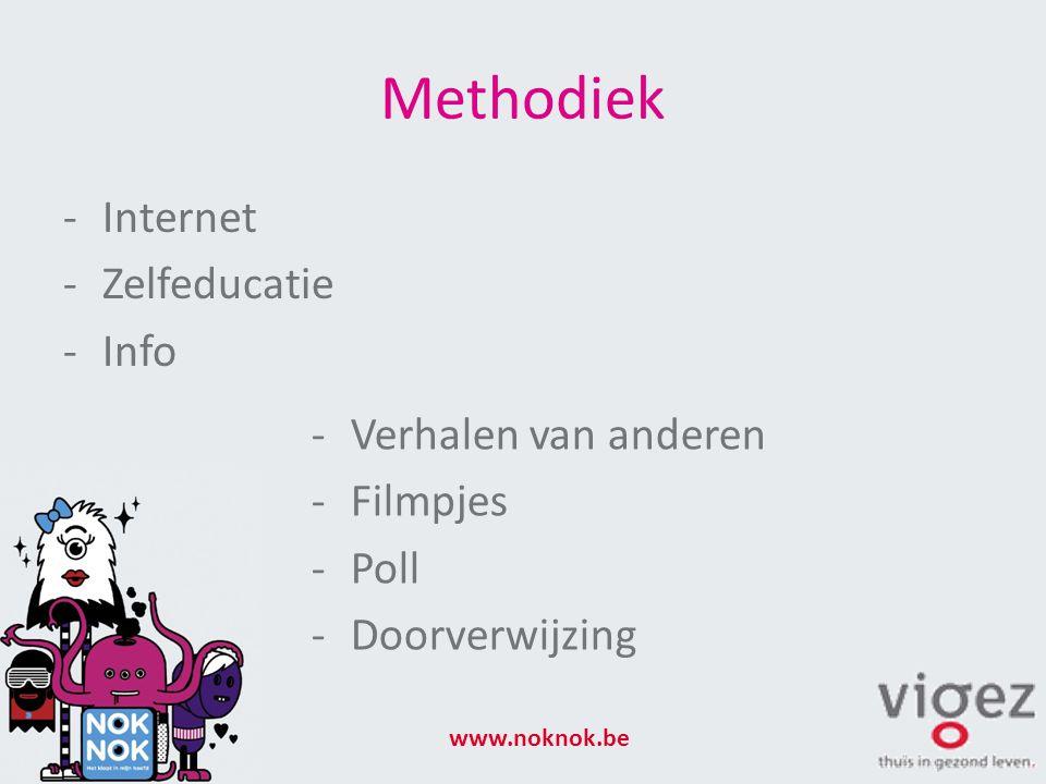 Methodiek -Internet -Zelfeducatie -Info www.noknok.be -Verhalen van anderen -Filmpjes -Poll -Doorverwijzing