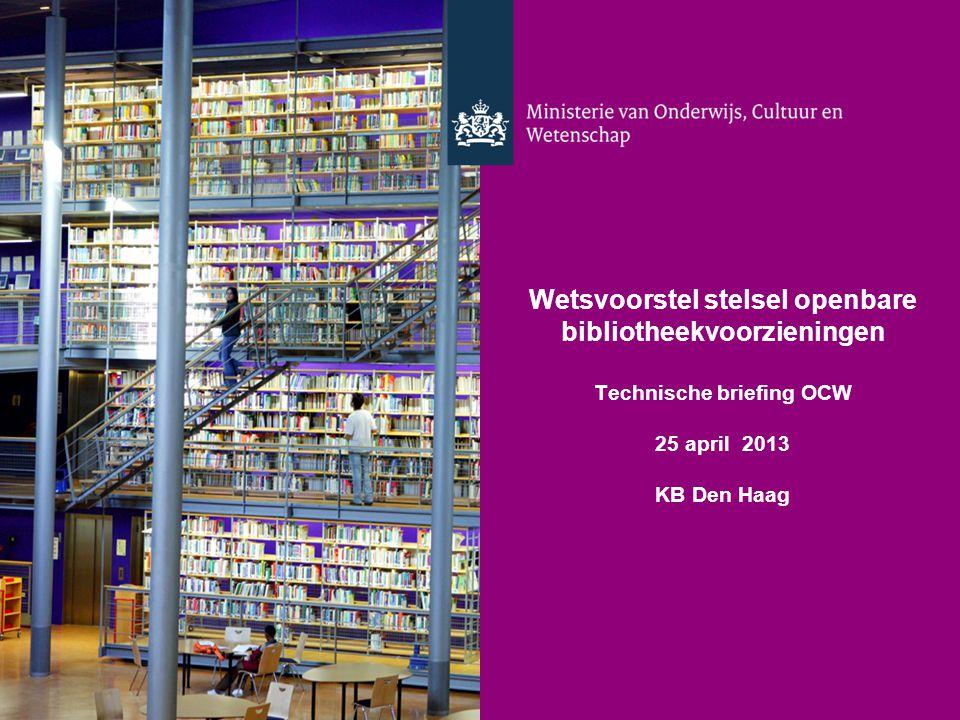 Wetsvoorstel stelsel openbare bibliotheekvoorzieningen Technische briefing OCW 25 april 2013 KB Den Haag