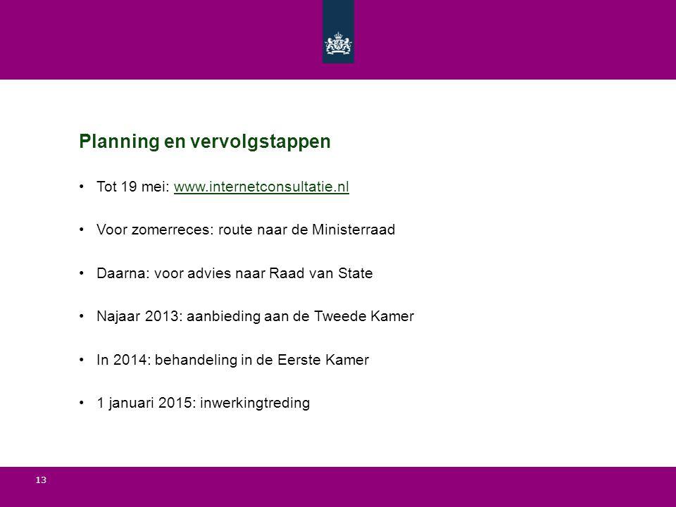 13 Planning en vervolgstappen Tot 19 mei: www.internetconsultatie.nlwww.internetconsultatie.nl Voor zomerreces: route naar de Ministerraad Daarna: voo