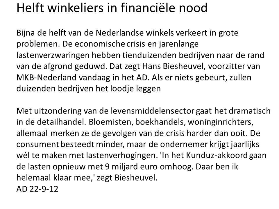 Helft winkeliers in financiële nood Bijna de helft van de Nederlandse winkels verkeert in grote problemen.