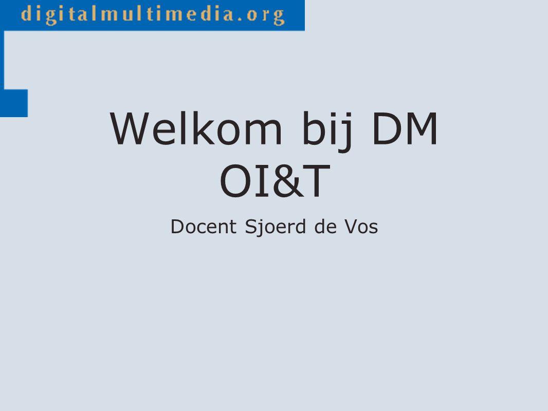 Welkom bij DM OI&T Docent Sjoerd de Vos