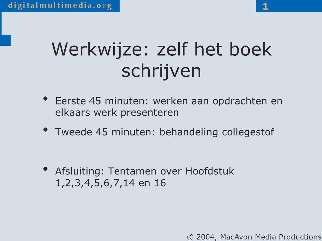 © 2004, MacAvon Media Productions 1 Werkwijze: zelf het boek schrijven Eerste 45 minuten: werken aan opdrachten en elkaars werk presenteren Tweede 45