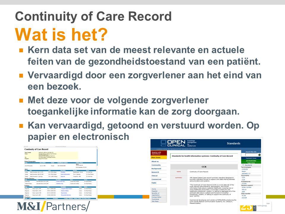Continuity of Care Record Wat is het? Kern data set van de meest relevante en actuele feiten van de gezondheidstoestand van een patiënt. Vervaardigd d