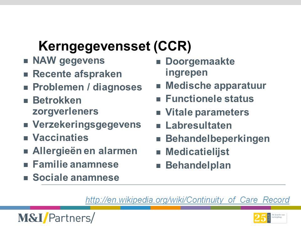 Kerngegevensset (CCR) NAW gegevens Recente afspraken Problemen / diagnoses Betrokken zorgverleners Verzekeringsgegevens Vaccinaties Allergieën en alar