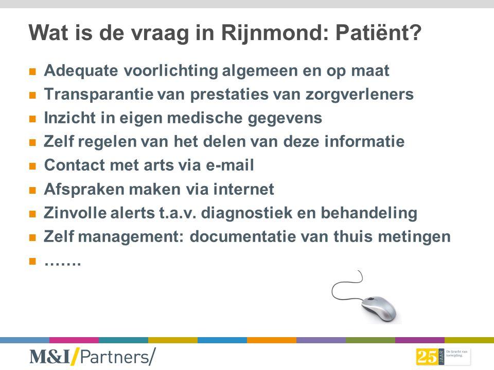 Wat is de vraag in Rijnmond: Patiënt? Adequate voorlichting algemeen en op maat Transparantie van prestaties van zorgverleners Inzicht in eigen medisc