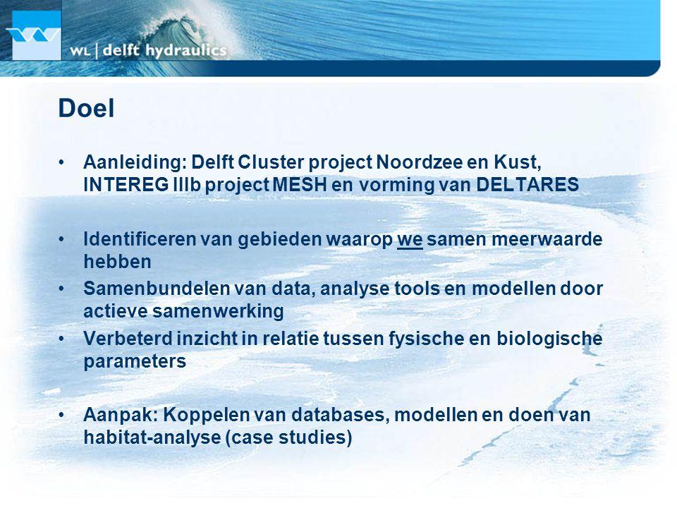 Samenwerkende instituten (we) TNO-MEP (IMARES): kennis van zee-ecosysteem, habitats  TNO-NITG: Kennis van ondiepe ondergrond  WL | Delft Hydraulics: Kennis van stroming en golven, voorspellende habitatmodellen  RIZA en RIKZ: Habitatmodellen en gebruikers t.b.v.