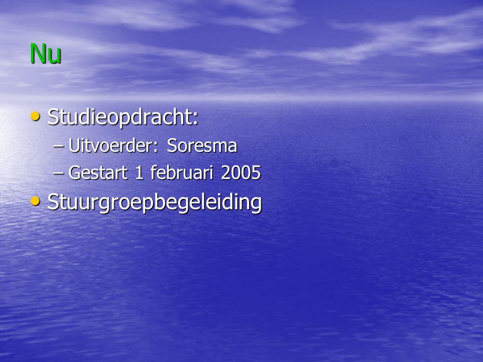 Nu Studieopdracht: Studieopdracht: –Uitvoerder: Soresma –Gestart 1 februari 2005 Stuurgroepbegeleiding Stuurgroepbegeleiding