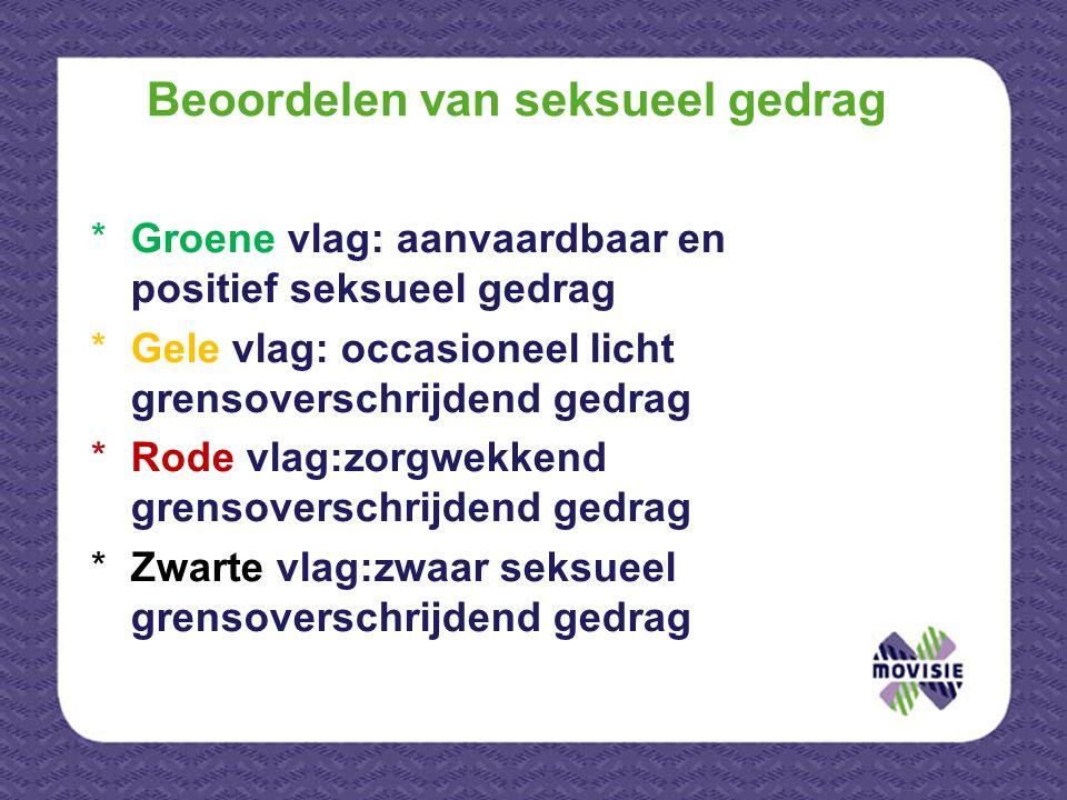 Beoordelen van seksueel gedrag *Groene vlag: aanvaardbaar en positief seksueel gedrag *Gele vlag: occasioneel licht grensoverschrijdend gedrag *Rode v