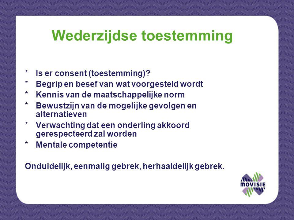 Wederzijdse toestemming *Is er consent (toestemming)? *Begrip en besef van wat voorgesteld wordt *Kennis van de maatschappelijke norm *Bewustzijn van