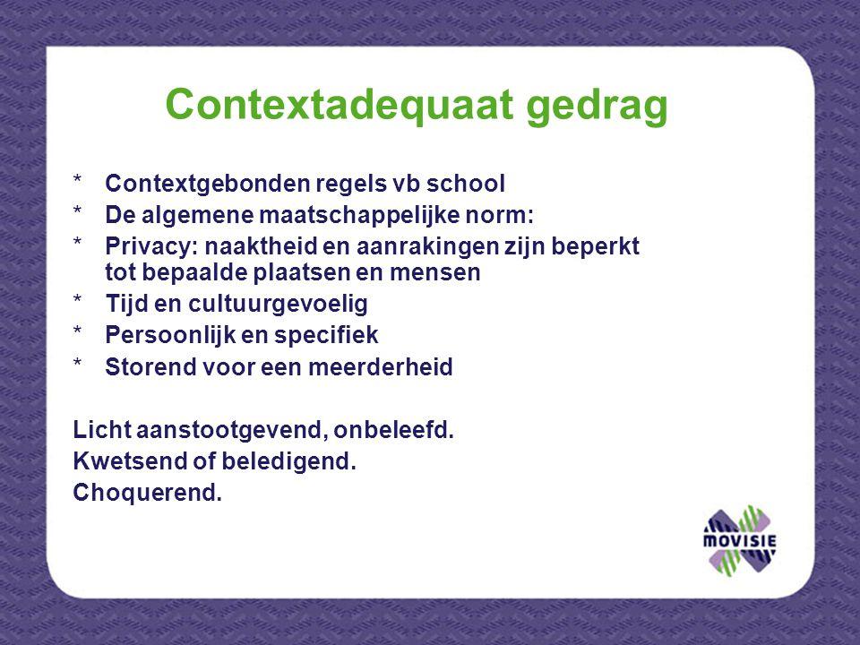 Contextadequaat gedrag *Contextgebonden regels vb school *De algemene maatschappelijke norm: *Privacy: naaktheid en aanrakingen zijn beperkt tot bepaa