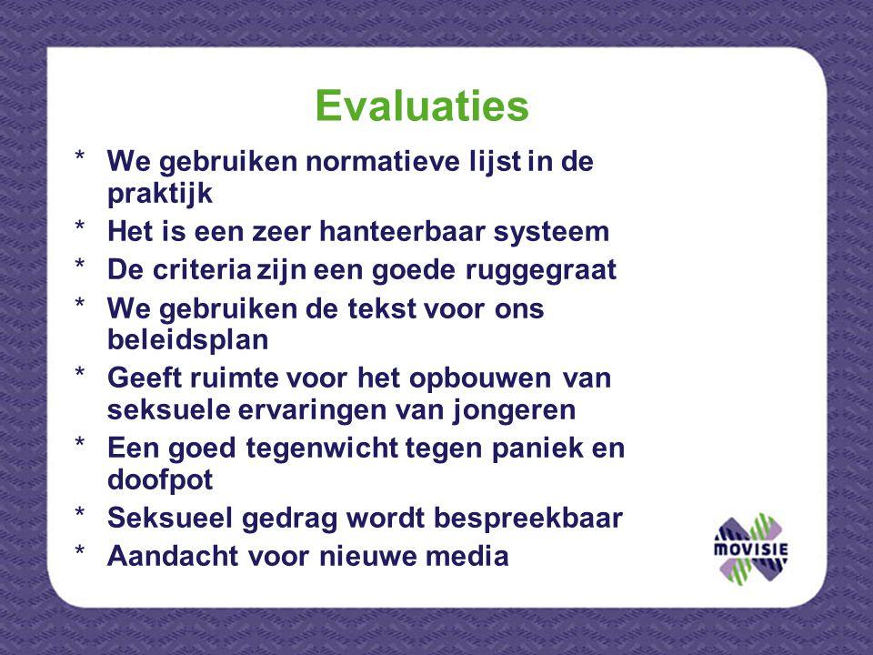 Evaluaties *We gebruiken normatieve lijst in de praktijk *Het is een zeer hanteerbaar systeem *De criteria zijn een goede ruggegraat *We gebruiken de