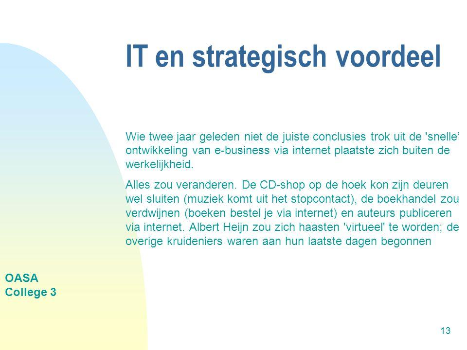 OASA College 3 13 IT en strategisch voordeel Wie twee jaar geleden niet de juiste conclusies trok uit de snelle' ontwikkeling van e-business via internet plaatste zich buiten de werkelijkheid.