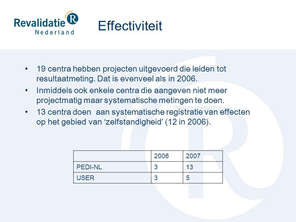19 centra hebben projecten uitgevoerd die leiden tot resultaatmeting. Dat is evenveel als in 2006. Inmiddels ook enkele centra die aangeven niet meer