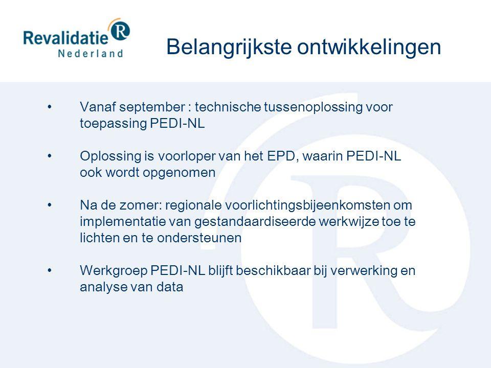 Vanaf september : technische tussenoplossing voor toepassing PEDI-NL Oplossing is voorloper van het EPD, waarin PEDI-NL ook wordt opgenomen Na de zome