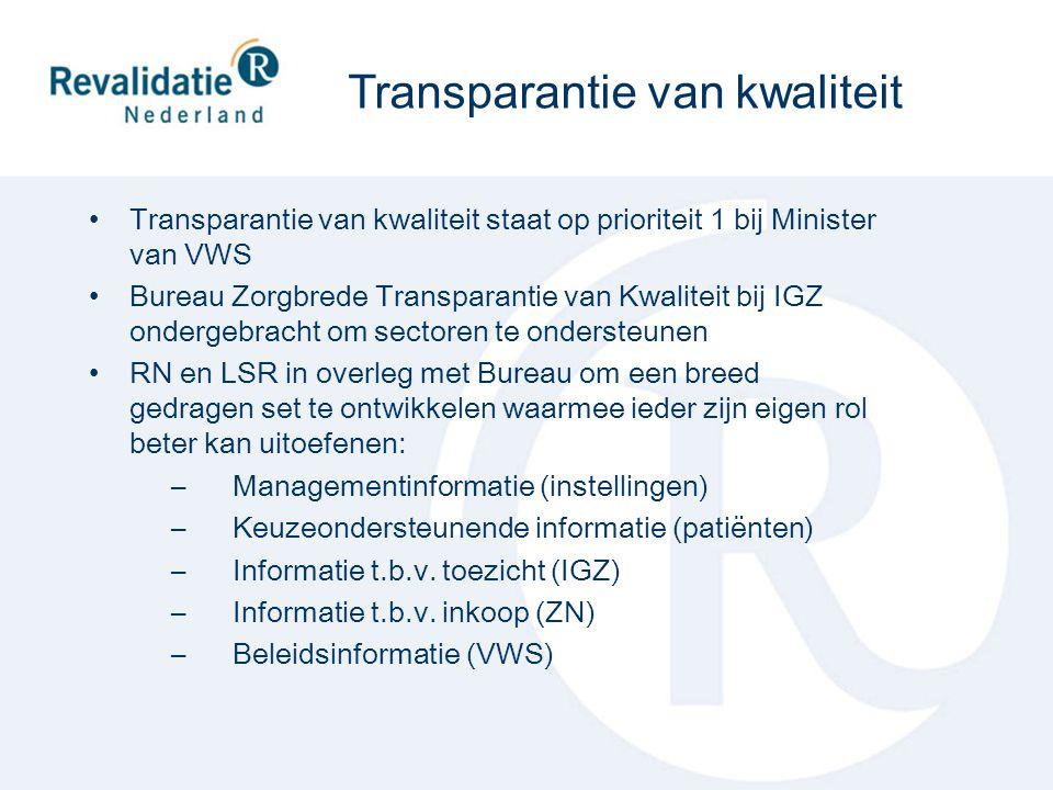 Transparantie van kwaliteit staat op prioriteit 1 bij Minister van VWS Bureau Zorgbrede Transparantie van Kwaliteit bij IGZ ondergebracht om sectoren