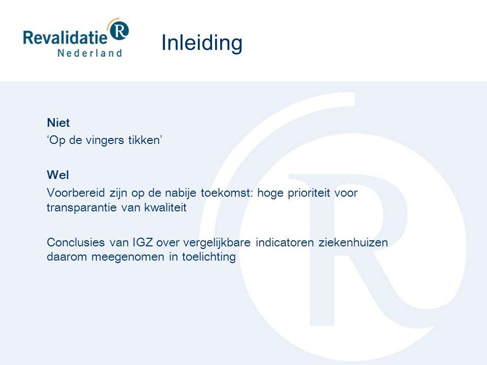 Na goedkeuring van het rapport vindt publicatie plaats van: resultaten op sectorniveau op website RN deel van de resultaten op instellingsniveau op www.kiesbeter.nl www.kiesbeter.nl rangorde op basis van de resultaten op instellingsniveau op www.independer.nlwww.independer.nl rangorde wordt gerealiseerd door toepassing van model van Mediquest (in samenwerking met Erasmus Universiteit ontwikkeld) Er heeft nog overleg plaats met DigiMV over publicatie op instellingsniveau op www.digimv.nlwww.digimv.nl Publicatie
