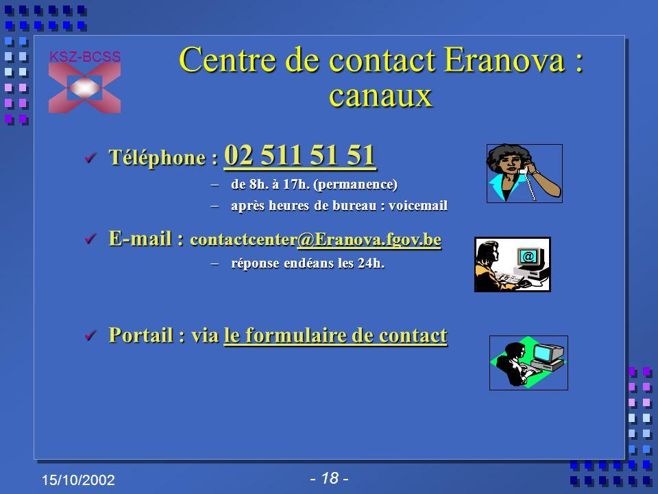 - 18 - KSZ-BCSS 15/10/2002 Centre de contact Eranova : canaux Téléphone : 02 511 51 51 Téléphone : 02 511 51 51 – de 8h. à 17h. (permanence) – après h