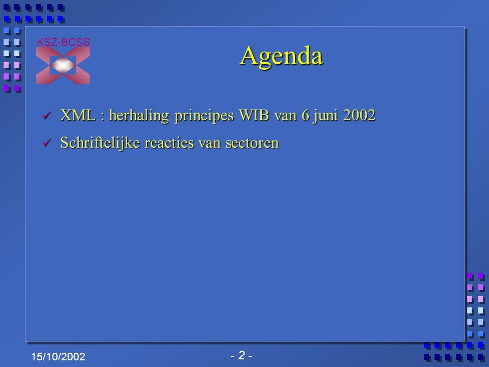 - 2 - KSZ-BCSS 15/10/2002 Agenda XML : herhaling principes WIB van 6 juni 2002 XML : herhaling principes WIB van 6 juni 2002 Schriftelijke reacties va