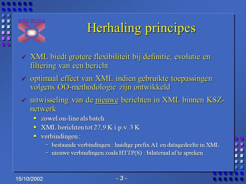 - 3 - KSZ-BCSS 15/10/2002 Herhaling principes XML biedt grotere flexibiliteit bij definitie, evolutie en filtering van een bericht XML biedt grotere f