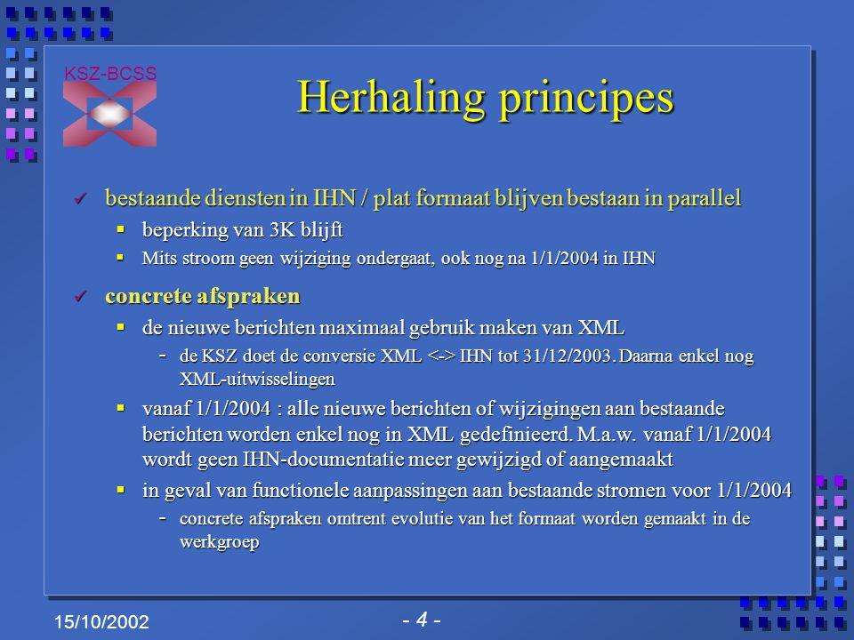 - 4 - KSZ-BCSS 15/10/2002 Herhaling principes Herhaling principes bestaande diensten in IHN / plat formaat blijven bestaan in parallel bestaande diens