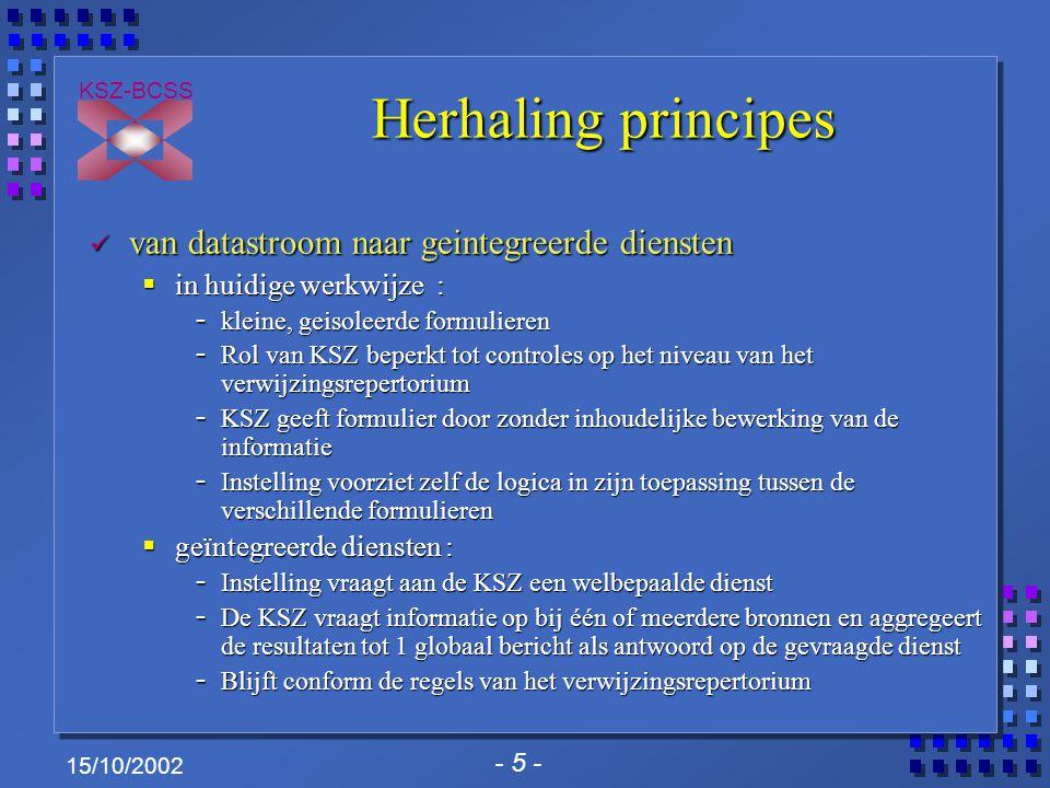 - 5 - KSZ-BCSS 15/10/2002 Herhaling principes van datastroom naar geintegreerde diensten van datastroom naar geintegreerde diensten  in huidige werkw