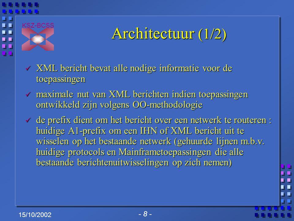- 8 - KSZ-BCSS 15/10/2002 Architectuur (1/2) XML bericht bevat alle nodige informatie voor de toepassingen XML bericht bevat alle nodige informatie vo