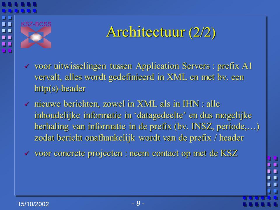 - 9 - KSZ-BCSS 15/10/2002 Architectuur (2/2) voor uitwisselingen tussen Application Servers : prefix A1 vervalt, alles wordt gedefinieerd in XML en me