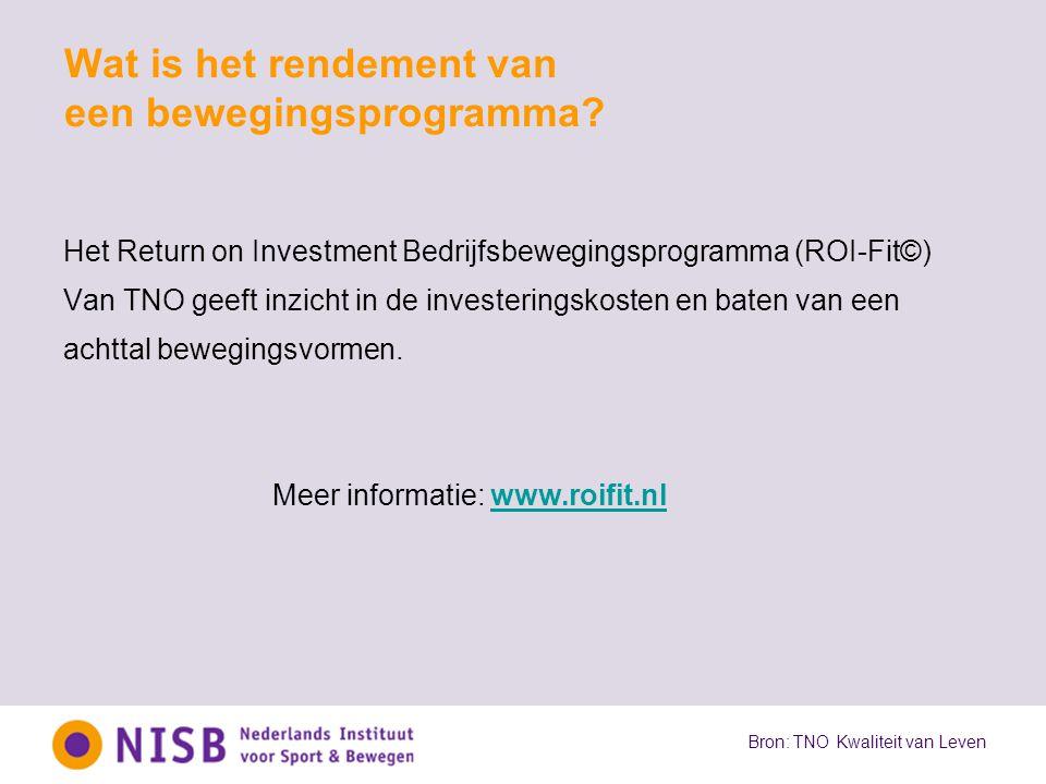 Wat is het rendement van een bewegingsprogramma? Het Return on Investment Bedrijfsbewegingsprogramma (ROI-Fit©) Van TNO geeft inzicht in de investerin
