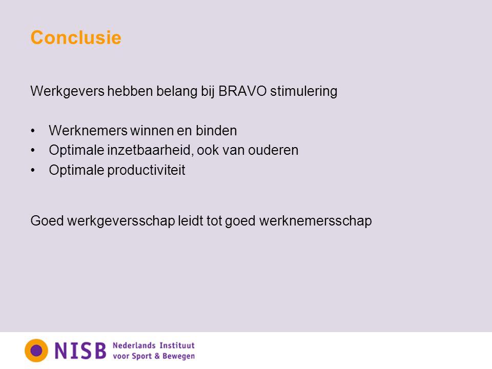 Werkgevers hebben belang bij BRAVO stimulering Werknemers winnen en binden Optimale inzetbaarheid, ook van ouderen Optimale productiviteit Goed werkge