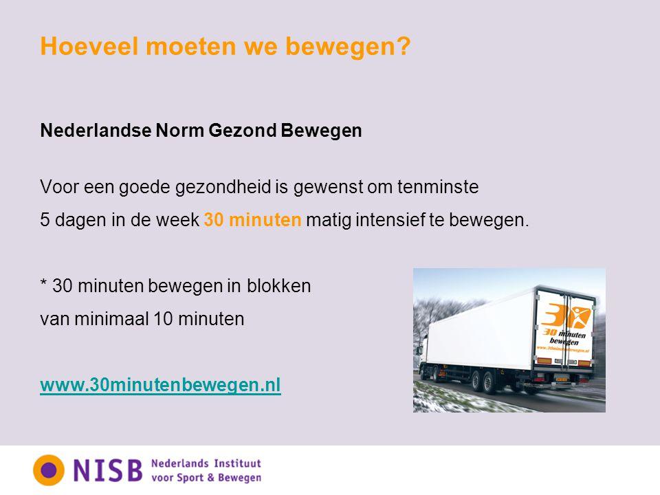 Hoeveel moeten we bewegen? Nederlandse Norm Gezond Bewegen Voor een goede gezondheid is gewenst om tenminste 5 dagen in de week 30 minuten matig inten