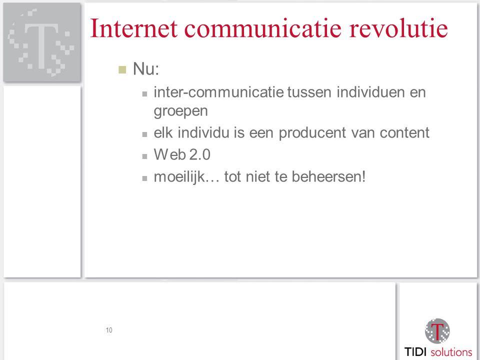 Internet communicatie revolutie Nu: inter-communicatie tussen individuen en groepen elk individu is een producent van content Web 2.0 moeilijk… tot niet te beheersen.
