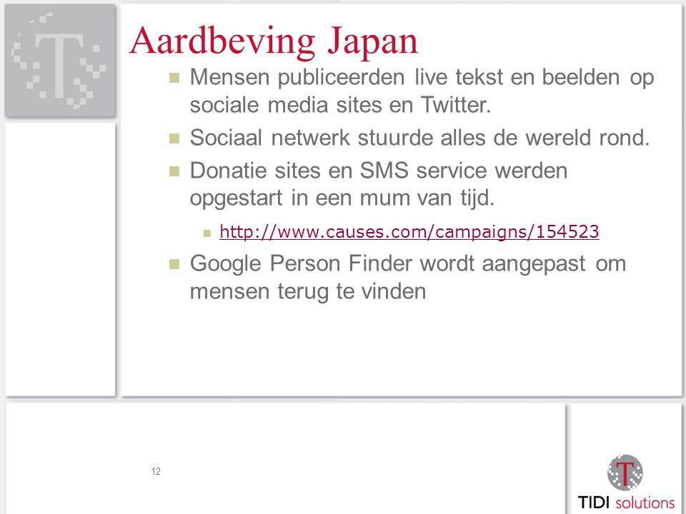 Aardbeving Japan Mensen publiceerden live tekst en beelden op sociale media sites en Twitter.