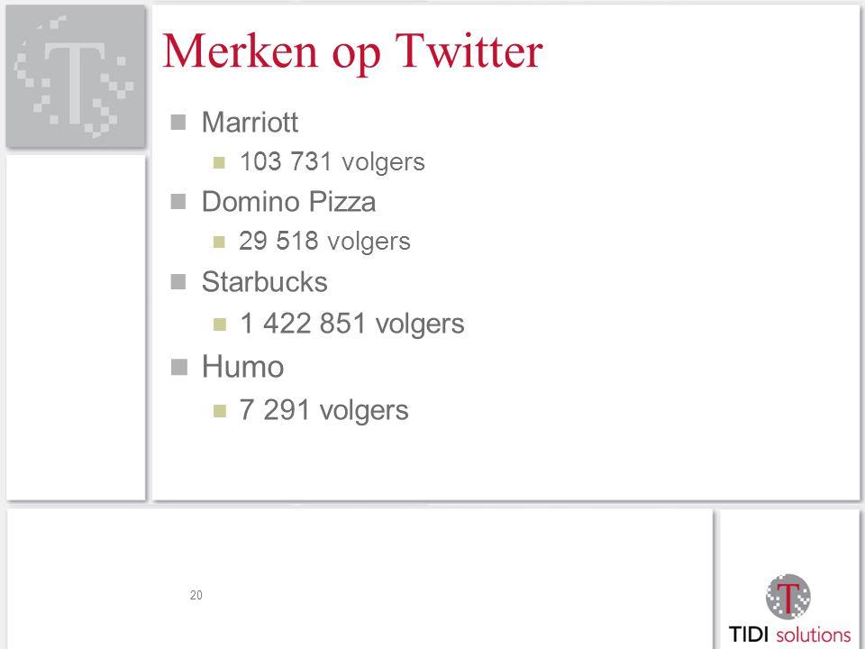 Merken op Twitter Marriott 103 731 volgers Domino Pizza 29 518 volgers Starbucks 1 422 851 volgers Humo 7 291 volgers 20