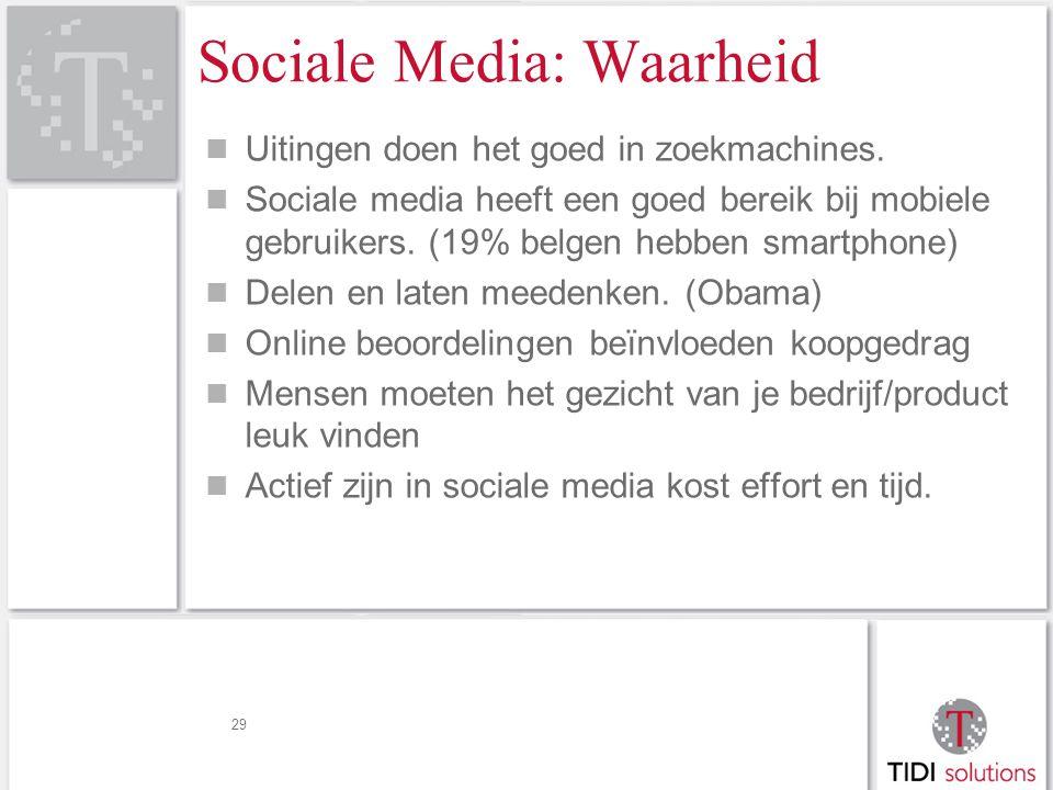 29 Sociale Media: Waarheid Uitingen doen het goed in zoekmachines.