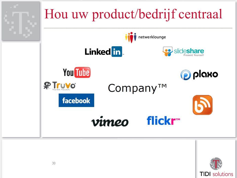 Hou uw product/bedrijf centraal 30