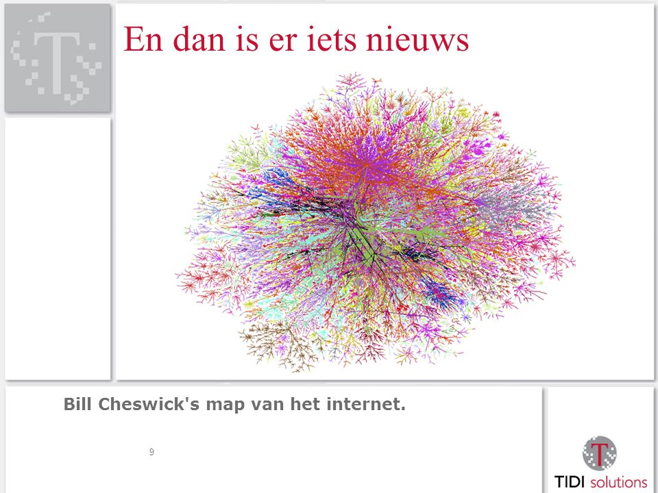 En dan is er iets nieuws Bill Cheswick s map van het internet. 9