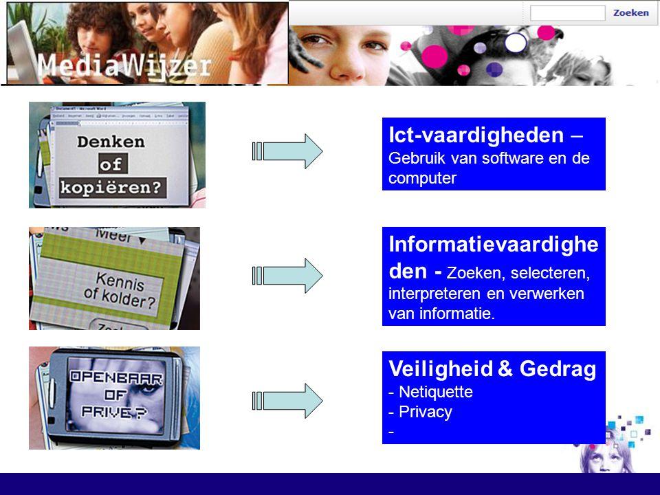 Informatievaardighe den - Zoeken, selecteren, interpreteren en verwerken van informatie. Ict-vaardigheden – Gebruik van software en de computer Veilig