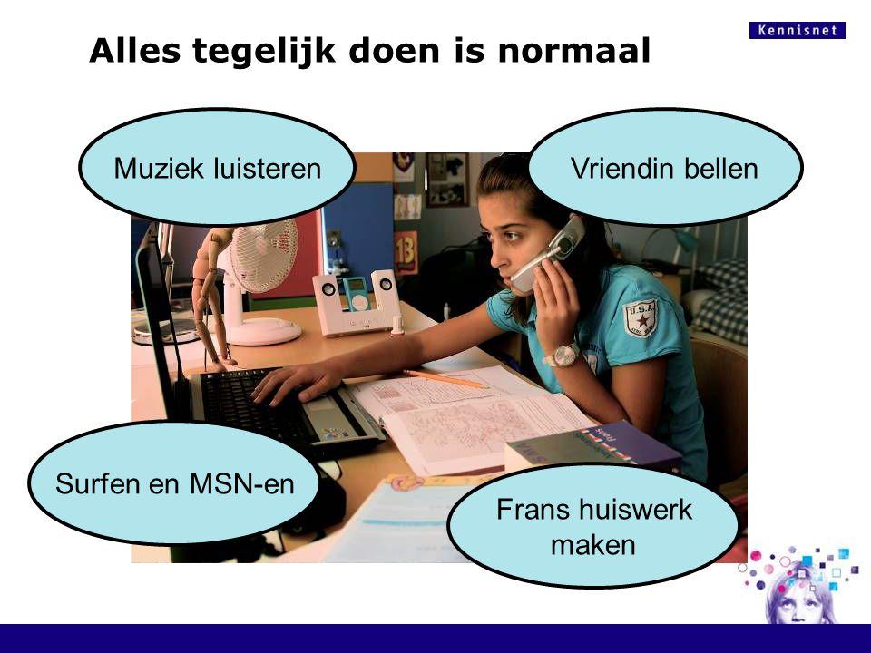 Muziek luisterenVriendin bellen Frans huiswerk maken Surfen en MSN-en Alles tegelijk doen is normaal