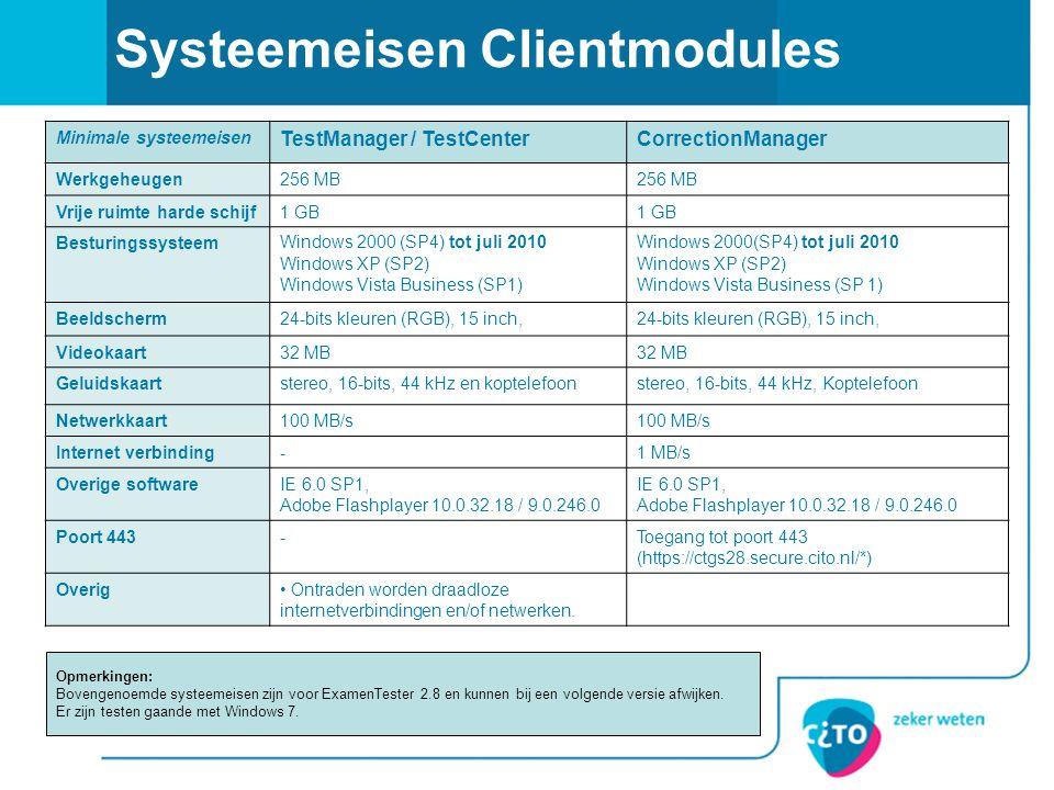 Systeemeisen Clientmodules Minimale systeemeisen TestManager / TestCenterCorrectionManager Werkgeheugen256 MB Vrije ruimte harde schijf1 GB Besturings